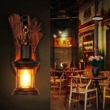 Lámpara led e14 Loft de madera de hierro industrial en forma de pie, lámpara LED, lámpara de pared, lámpara de pared, aplique de pared para Bar, tienda, Vestíbulo