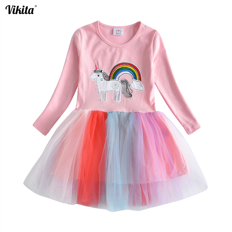 VIKITA Girls Autumn Winter Long Sleeve Dress Girls Unicorn Dresses Children Tutu Princess Dresses Rainbow Dress for Girls LH4571