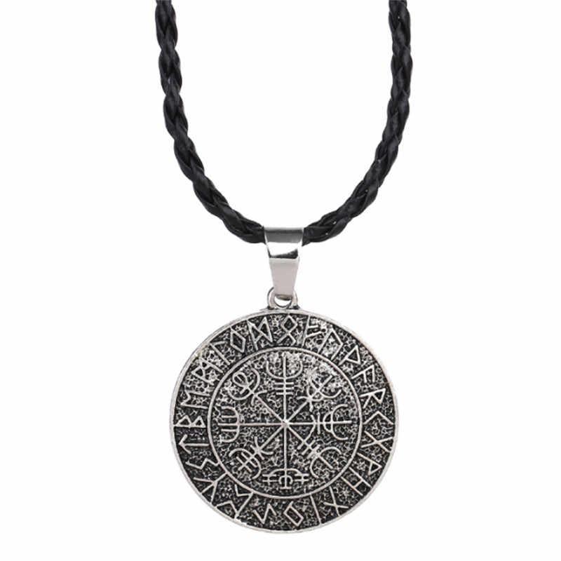 Joyería eslava nórdica Vegvisir amuleto colgante collar Valknut Odín de collar Nórdico