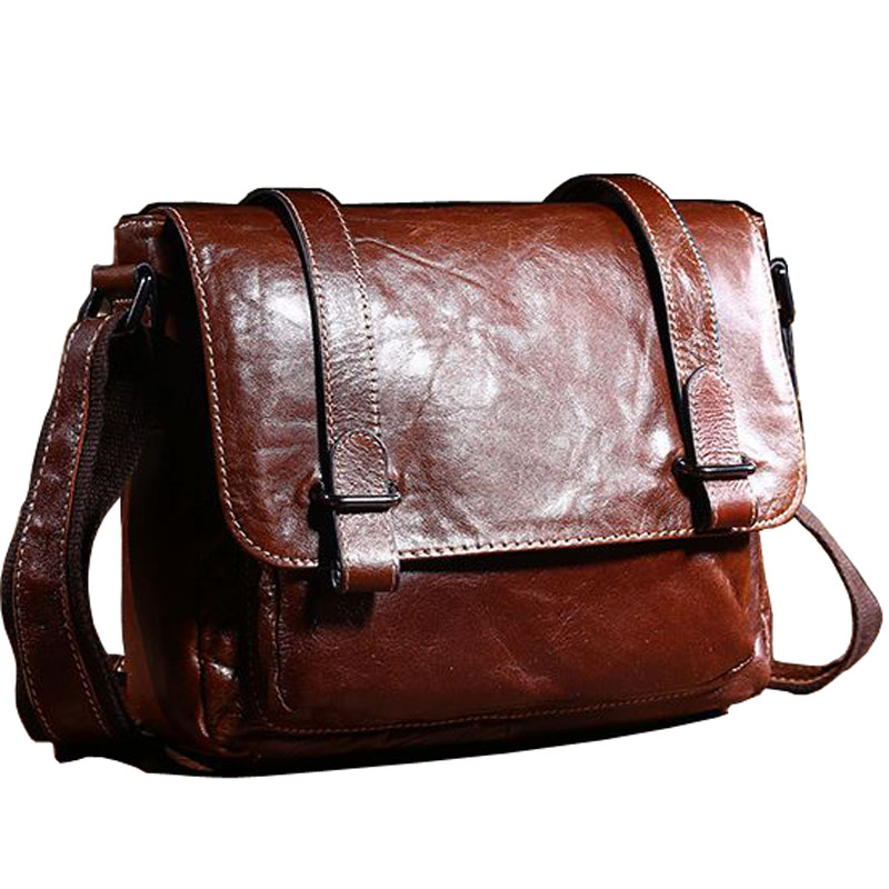 ffde2ed0b 2018 Retro Style Men's Crossbody bag Genuine Leather Messenger bags Small  New Brown Oil Wax Leather