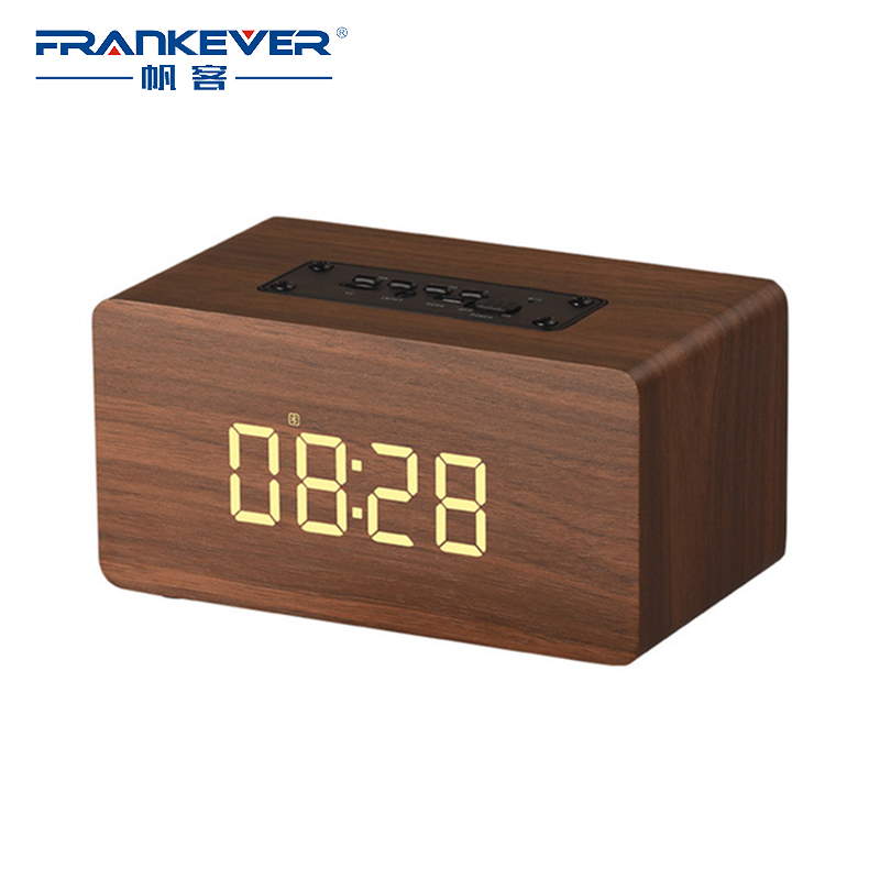 FrankEver LED Time Display Clock Portable Bluetooth Speaker Bass Wireless Stereo Speakers Support TF AUX FM Radio Alarm Clock portable bluetooth speaker wireless alarm clock music stereo soundbox time display fm radio tf card altavoz speakers for phones