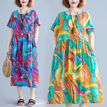 #0116 Casual Short Sleeve O-neck Print 2019 Summer Dress Woman Cotton Pleated Loose Dresses Women With Pockets Ladies