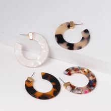 New Tortoiseshell Resin Alloy Ring Earrings Bohemian Acrylic Combination Circles Exquisite for Women Factory Wholesale