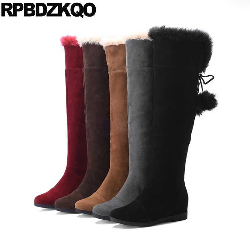 Grey Lange 11 Lace Up Over De Knie Platte Bont Goedkope Hoge schoenen Kawaii Pom Poms 10 Suede Furry Vrouwen Snowboots Winter Grote Size