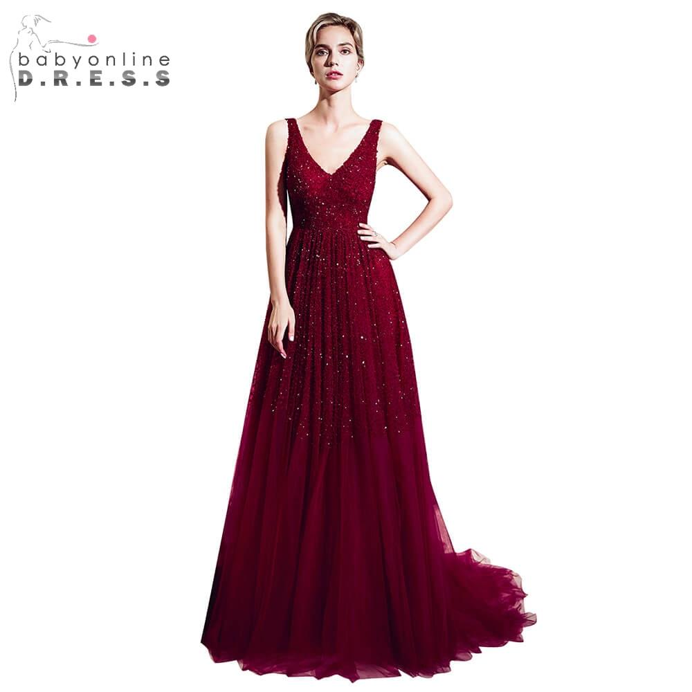 Elegant Burgundy Beading Crystal Long Prom Dresses 2019 Sexy V-Neck Backless Prom Gown Gorgeous Tulle Dress Vestido De Festa