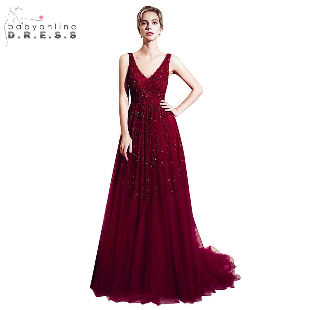 Elegant Burgundy Beading Crystal Long   Prom     Dresses   2019 Sexy V-Neck Backless   Prom   Gown Gorgeous Tulle   Dress   Vestido De Festa