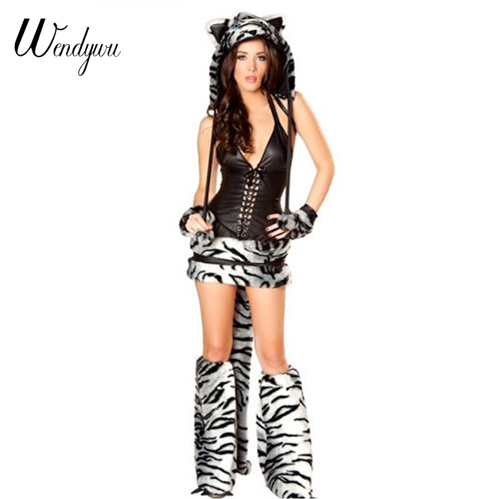 Wendywu hiver Sexy tigre blanc Cosplay licou à lacets haut jupe femmes animaux Costumes legcooler