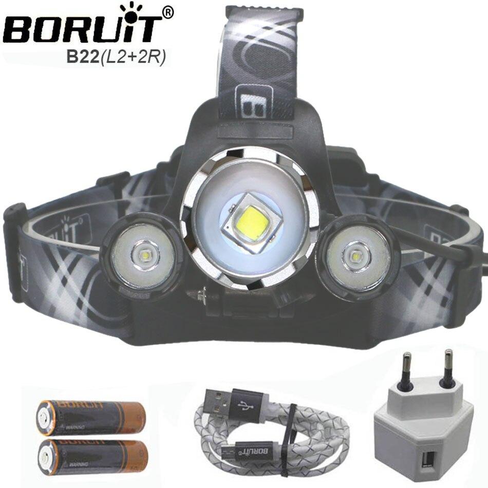 ZOOM USB Projecteur 9000LM L2 18650 L2 Led Camping Lampe frontale CREE L2 Lumières rechargeable Avec Câble Usb