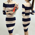 Autumn Winter New Sexy Long Sleeve Knee-Length Knit Sweater Office Dresses Vestidos Women Bodycon Striped Elegant Maxi Dress1014