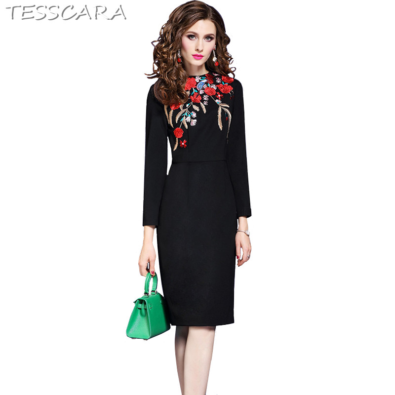 TESSCARA Women Spring Autumn Elegant Embroidery Dress Festa Female Office Pencil Robe Femme High Quality Designer Party Vestidos