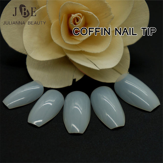 Online Shop 500pcs New Design Coffin Nail Tips Long Clear False ...