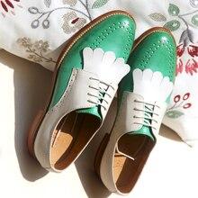 Yinzo kadın Flats Oxford ayakkabı kadın sarı hakiki deri Sneakers bayanlar Brogues Vintage rahat ayakkabılar ayakkabı kadınlar için 2020