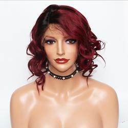 Eversilky # 1b 99j боб парик 13x6 синтетические волосы на кружеве человеческие волосы Искусственные парики для женщин Briazilian средства ухода за