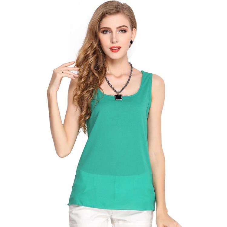 2017 New Hot sell Women Fashion Waistcoat Ladies Clothing Summer Casual Candy Color Sleeveless Shirt Chiffon Primer Shirt 01