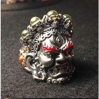 925 Серебряный Махакала тибетский буддийский череп маска ручной работы Hanny кольцо бесплатно на заказ Выгравированные буквы