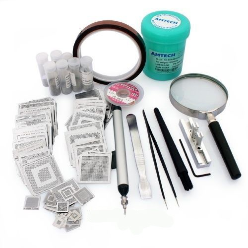 231pcs BGA reballing kit direct heat stencils solder balls flux scraper brush tweezer for laptop