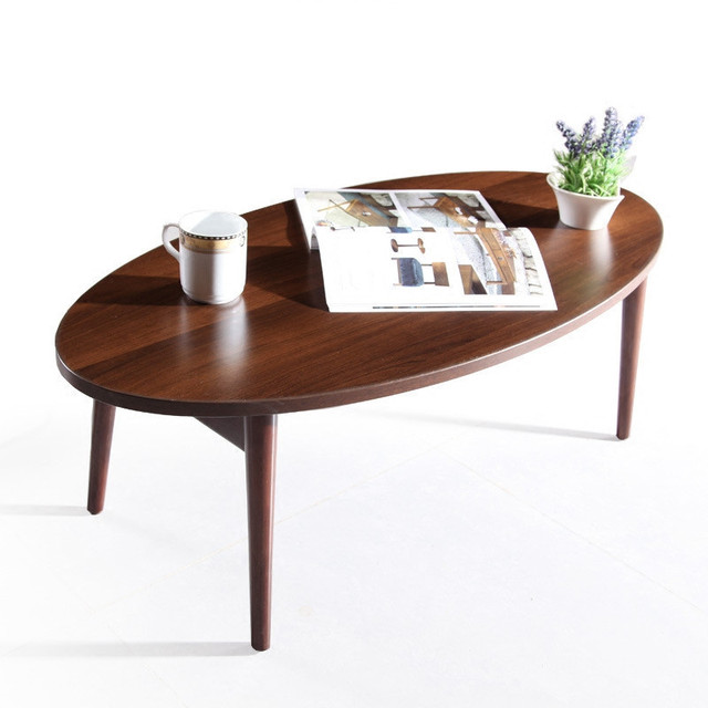 Loft Style Furniture Modern Studio Collection Classic Oval Coffee Table And End Table Set Dark Espresso Folding Table