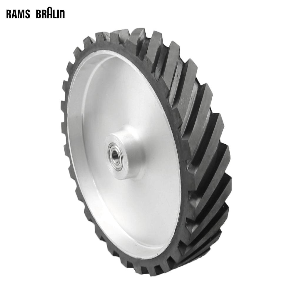 300*50mm Grooved Rubber Wheel Dynamically Balanced Belt Sander Polisher Wheel Sanding Belt Set Contact Wheel цена
