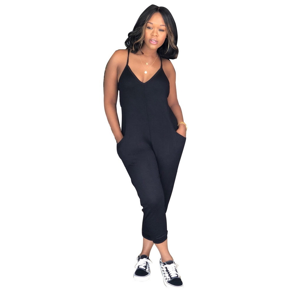 Free Shipping High Quality Sexy Lady V Neck Long Jumpsuits Sexy Women Long Rompers With Pockets