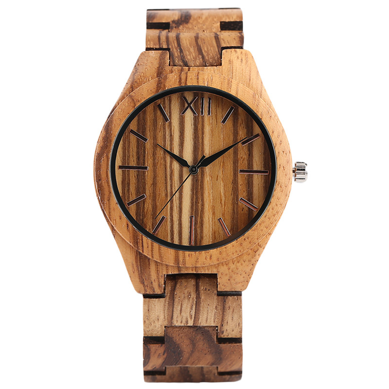 Nature Zebra Pattern Wood Wrist Watch Men Quartz Fashion Women Bamboo Watches Creative Full Wooden Clock Gift 2017 New Arrival yisuya creative fashion full bamboo triangular quartz wrist watch men simple unique novel analog hollow bangle nature wood clock