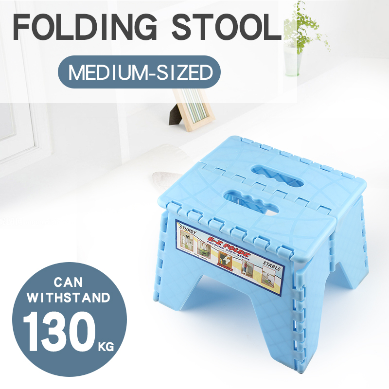 Plastic Children's Stools Portable Foldable Collapsible Stool Strong And Durable Maximum Load 130KG Blue Or Pink Can Optional M