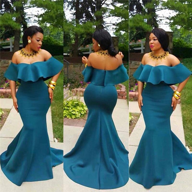 Sexy Backless Mermaid   Prom     Dresses   2019 Long   Dress   Party Gown Off Shoulder Formal Satin African vestidos de fiesta de noche