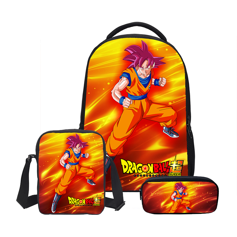 Veevanv Dragon Ball 3pc Set  Boys School Shoulder Bags With Pencil Case Luxury Student Backpacks Diy Print Cool Children Bookbag