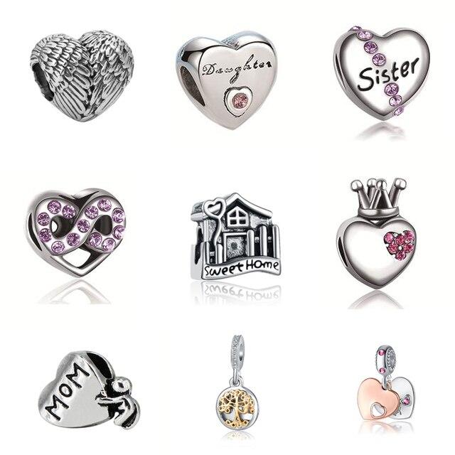 2018 Argent Plaqué Perle Ange Ailes Et sortes de Creux Amour Coeur Charme Perles Fit Pandora Femmes Diy Bracelets Bracelets bijoux