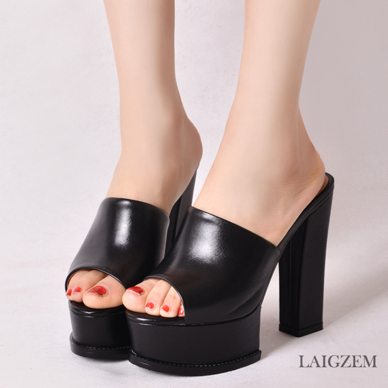 LAIGZEM Women Heels Slip On Waterproof Real Leather Chunky Heel Pumps Mules Slingback PARTY Shoes Woman Feminino Big Size 33-42 (4)
