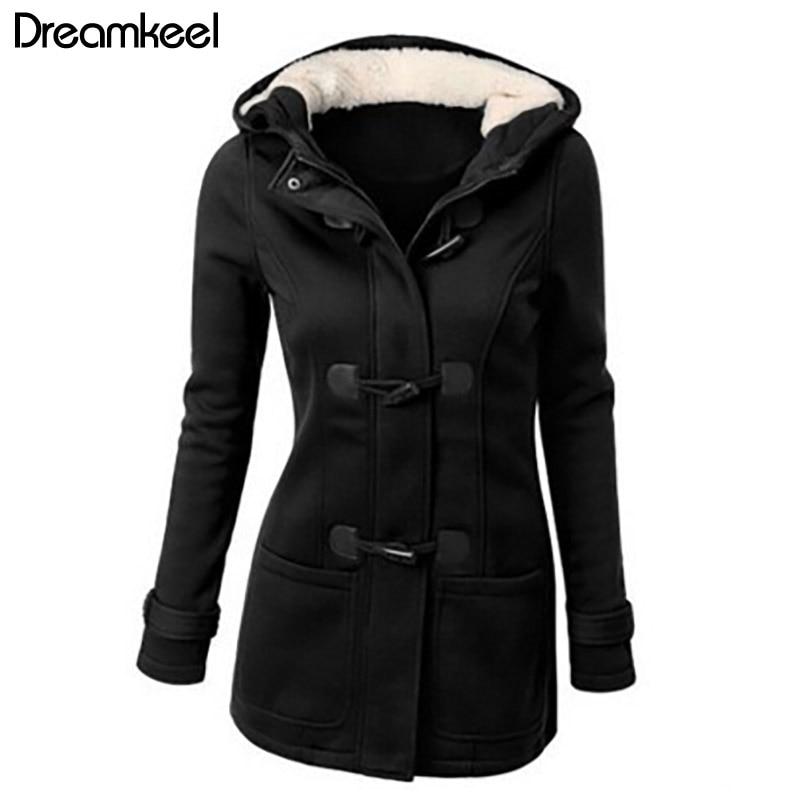 2019 New Spring Autumn Women s Overcoat Female Hooded Coat Women Zipper Horn Button Causal Coat Innrech Market.com