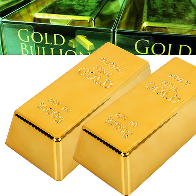 Fake Gold Bar Plastic Golden Paperweight Home Decor Bullion Bar Simulation Decoration Crafts Creative Gold Brick Drop Shipping