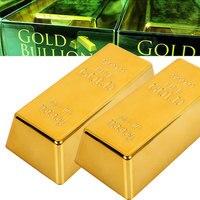 Falso barra de ouro plástico dourado paperweight decoração para casa barra de bullion simulação decoração artesanato criativo ouro tijolo transporte da gota|Moedas sem valor monetário| |  -