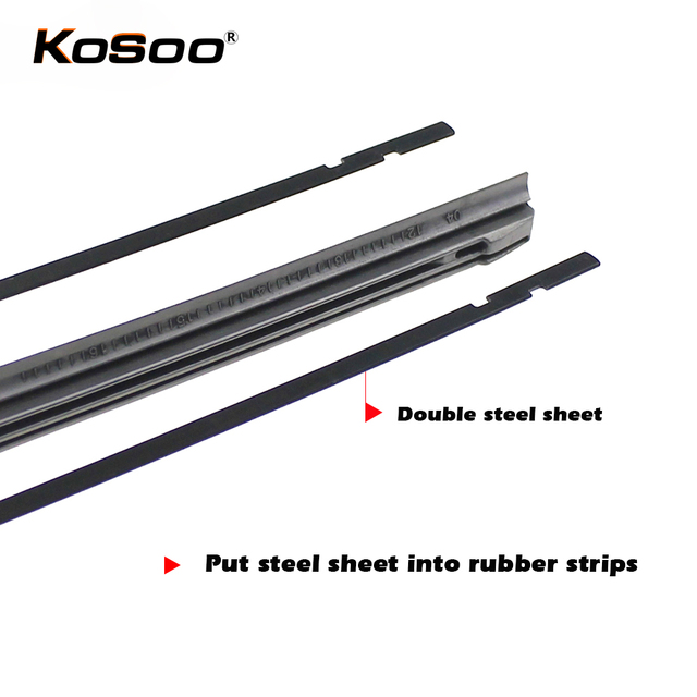 KOSOO 1pcs Diy car wiper blade,Windscreen wiper blade replacement strip,3 Section Rubber 14″ 16″ 17″ 18″ 19″ 20″ 21″ 22″ 24″ 26″