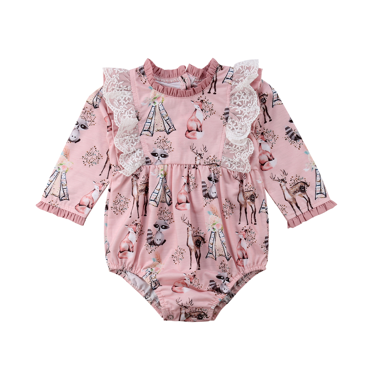 Newborn Baby Girls Long Sleeve Romper Jumpsuit Floral Clothes Outfits poudcoco 2018 Autumn style Baby kids Girl romper