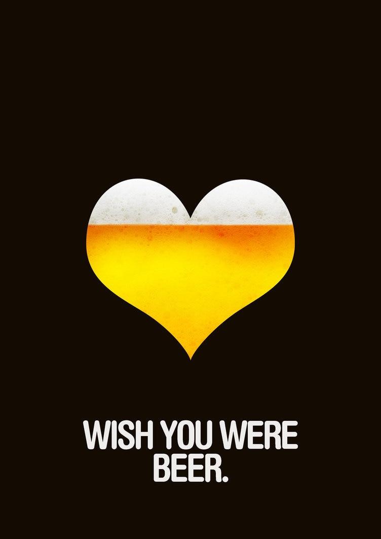 Wish You Were Beer Creative Beers Drink Vintage Retro Kraft Coated ...