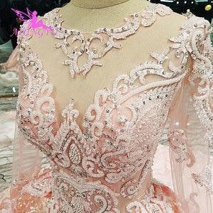 Image 1 - AIJINGYU Wedding Dress Rhinestone Butterfly Shiny Luxury Cheap Lace Sexy Robes Plus Size Boho Ruffle Trim Bridal Gown Sale