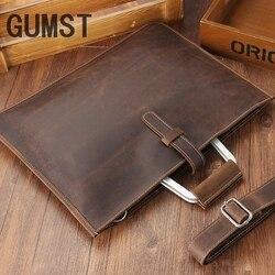 GUMST 2019 Crazy horse кожаный портфель для мужчин кофейного цвета винтажная Мужская натуральная кожа сумка-мессенджер деловые сумки мужские