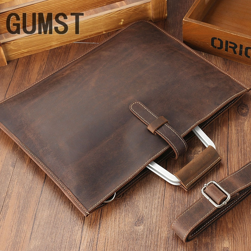 GUMST 2019 Crazy Horse Leather Briefcase For Man Coffee Color Vintage Men Genuine Leather Messenger Bag Business Bags Male
