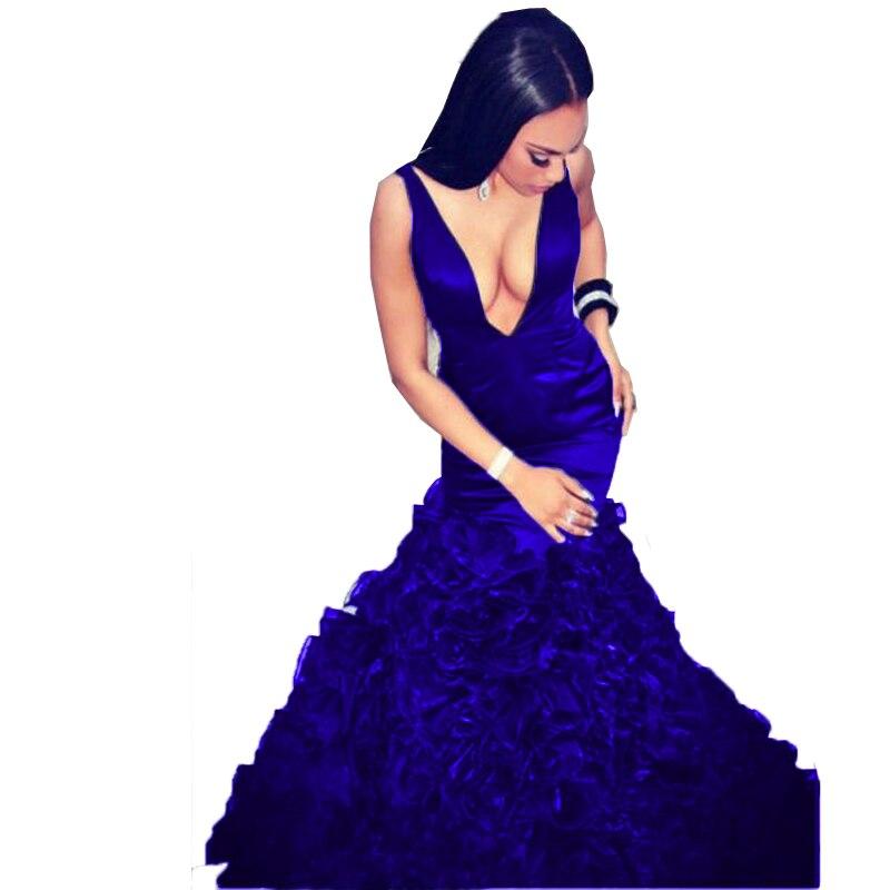 Bleu marine longue sirène robes de bal 2017 pour les filles noires col en V Organza volants Zipper-Up Court Train Sexy jolies robes de bal - 2