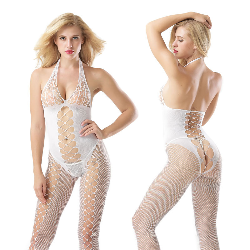 2018 Sexy Halter Hollow Full Bodystocking Open Crotch Lingerie White Tights Fishnet Pantyhose Women Stockings Hosiery For Women