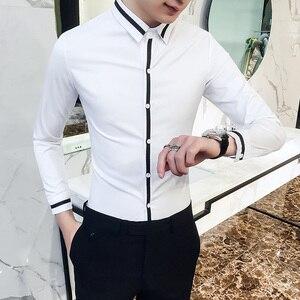 Image 3 - Camisa Social Masculina High Quality Spring Men Dress Shirt Groom Wedding Tuxedo Shirt Men Slim Fit Long Sleeve Social Shirts