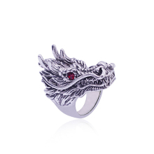 Hip Hop Punk Domineering Ring Men Red Crystal Eyes Retro Silver Rings Rock Gothic Animal Rings Ring Jewelry Anel Masculino vintage silver black tibetan punk rings glod round ring retro rock punk vampire skull ring men fashion jewelry