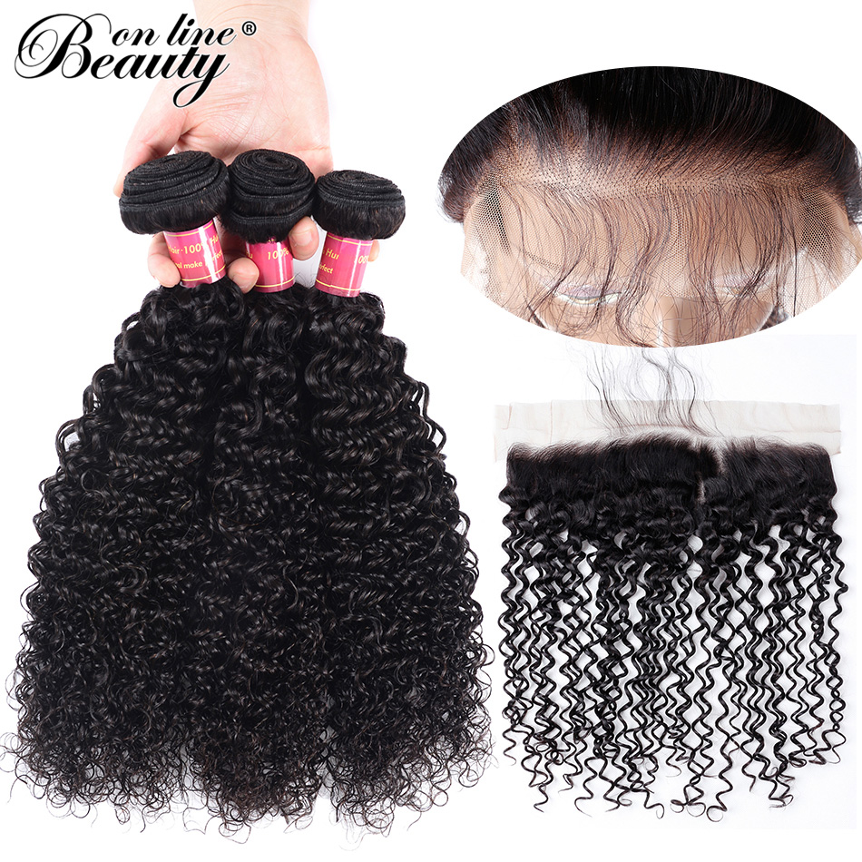 Beauty On Line Kinky Curly 3 Bundles With Frontal Pre-plucked Brazilian Remy Hair Weave Bundles With 13*4 Lace Frontal Closure