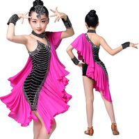 Pink Kids Professional Ballroom Latin Salsa Dance Wear dress Competitions Costumes Girls Sequined Dancing dress Stage Outfits