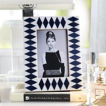 New Luxury Rhombus Printing Photo Frame Home Desktop OX Bone Picture Frame Retro Art Decor Frames For Picture ramki na zdjecie