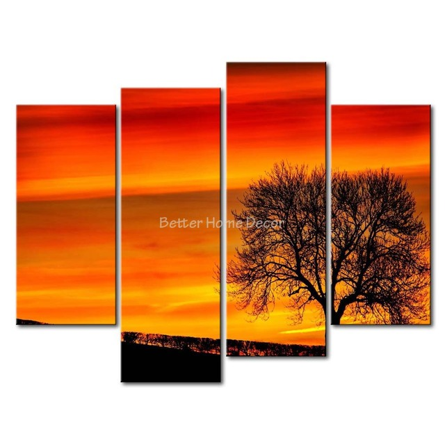 3 Piece Yellow Orange Wall Art Painting Tree Silhouette In The Sunset A Tree Print On Canvas The Picture Landscape 4 5 Pictures