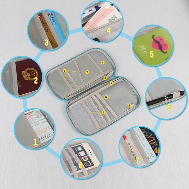 Unisex Waterproof ID Card Holder Passport Wallet Travel Document Organizer Ticket Credit Card Bag Case Multifunction Storage Bag