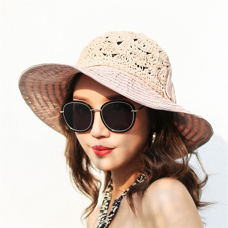 Lanxxy 2018 New Fashion Straw Patch Summer Hat Women Beach Sun Hats Bow  Wide Brim Caps Ladies Headwear-in Sun Hats from Women s Clothing    Accessories on ... 5da4a061a71