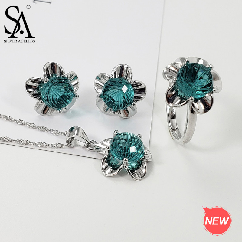 SA SILVERAGE 925 Sterling Silver Flower Necklace Stud Earrings Rings Jewelry Sets Blue/Green/Rose Red Color Crystal Jewelry SetsSA SILVERAGE 925 Sterling Silver Flower Necklace Stud Earrings Rings Jewelry Sets Blue/Green/Rose Red Color Crystal Jewelry Sets