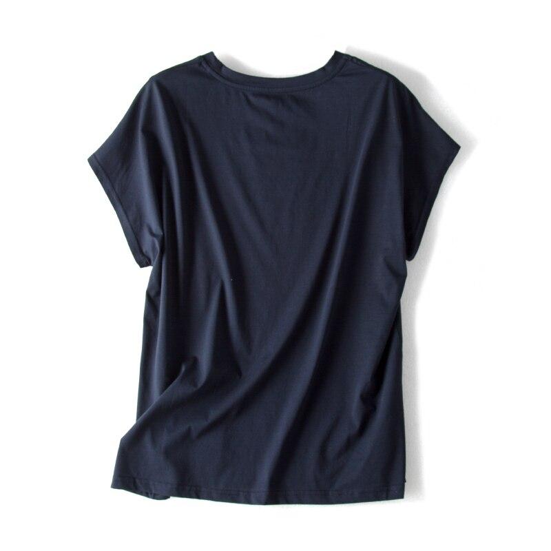 Femmes T shirt 100% réel soie avant impression chemise à manches courtes chauve-souris décontracté O cou t-shirt 2019 printemps haut d'été bleu marine blanc - 4
